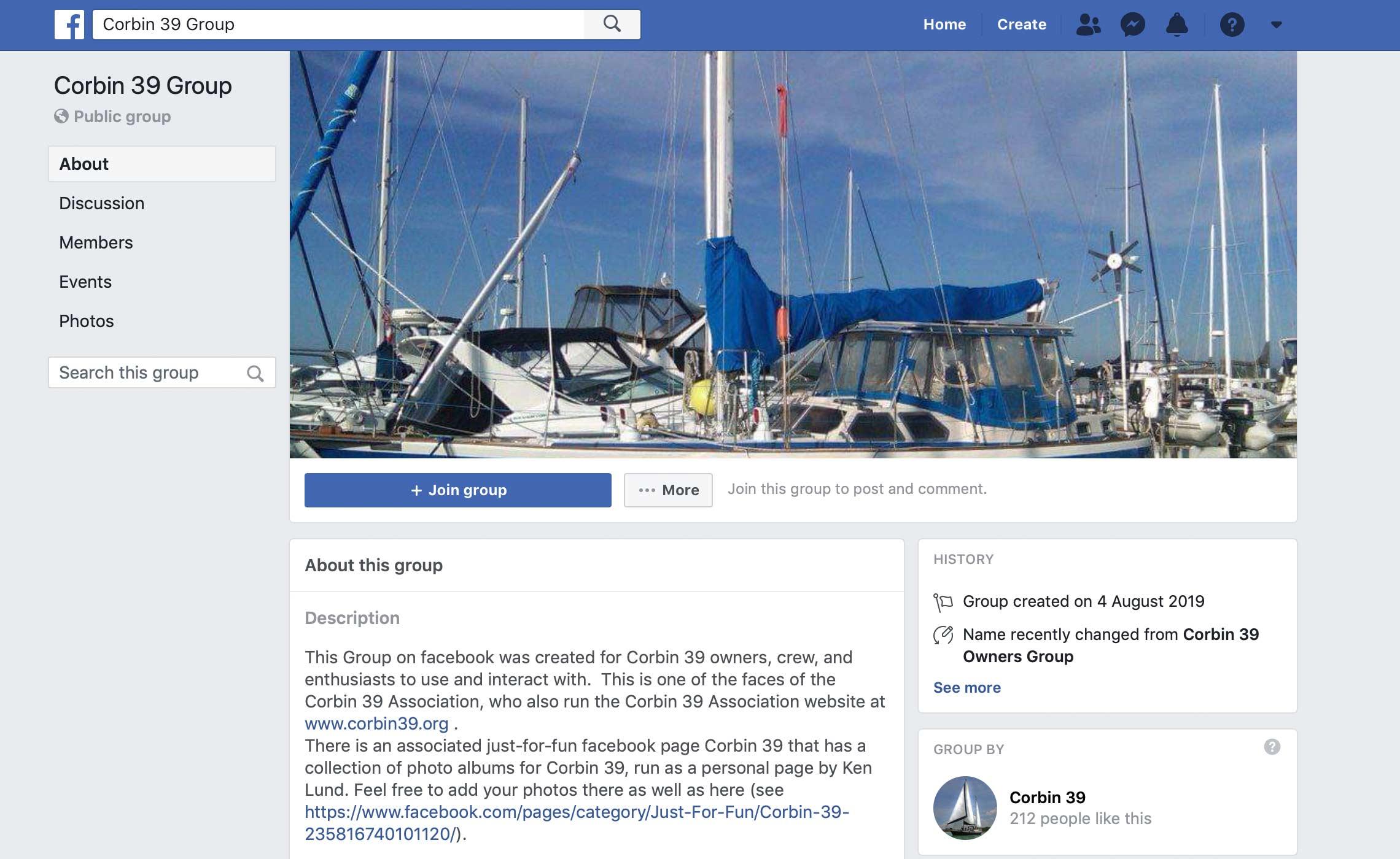 Corbin 39 Association – facebook page